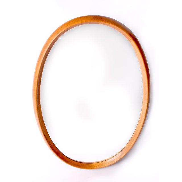 Very Large Oval Danish Modern Mirror in Two-Tone Teak by Pedersen & Hansen, 1960's For Sale In New York - Image 6 of 6