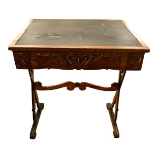 Antique English Carved Oak End Table With Crown For Sale