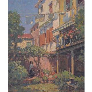 John C. Traynor, Venetian Courtyard, Giudecca Painting, 2017 For Sale