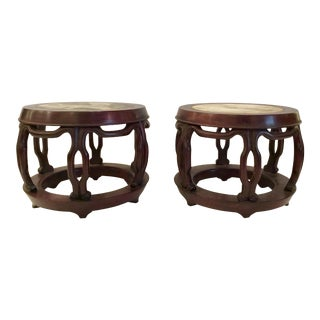 20th Century Carved Chinease Wood Pedestals - a Pair