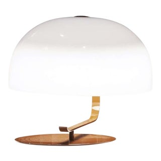 Marco Zanuso Model 275 Table Lamp in White and Brown for Oluce For Sale