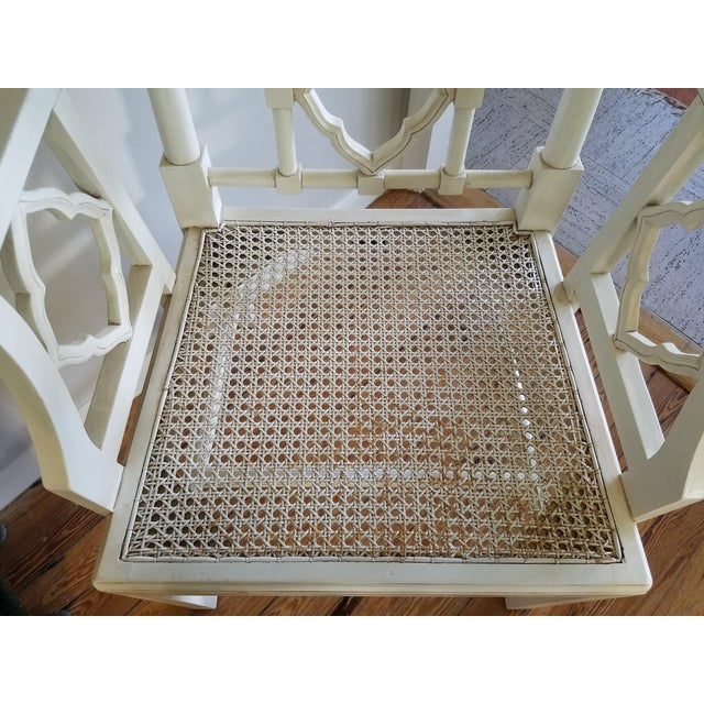 2010s Chippendale Off-White Arm Chair For Sale - Image 5 of 6