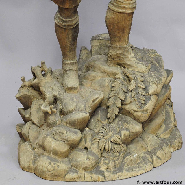 Black A Large Unfinished Black Forest Poacher With Ibex Carving For Sale - Image 8 of 12