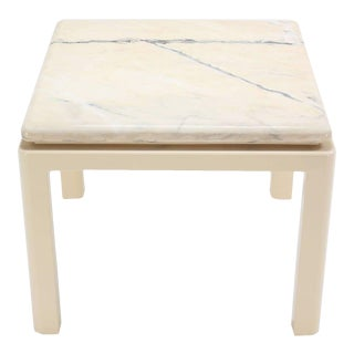 Vintage Mid Century Marble-Top and Enameled Base Table For Sale