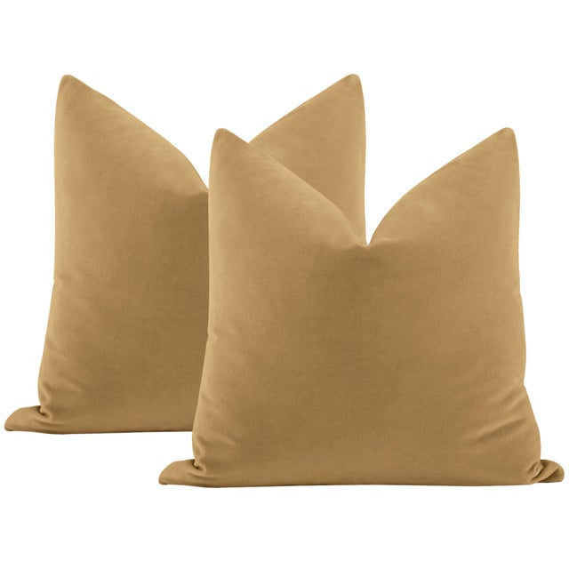 """Not Yet Made - Made To Order 22"""" Camel Italian Velvet Pillows - a Pair For Sale - Image 5 of 5"""