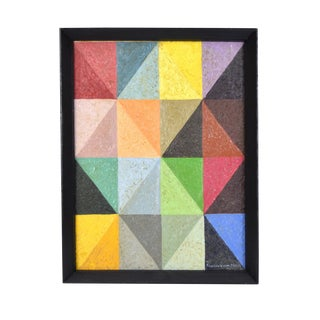 Vintage Mid-Century Modern Geometric Abstract Triangles Oil Painting For Sale