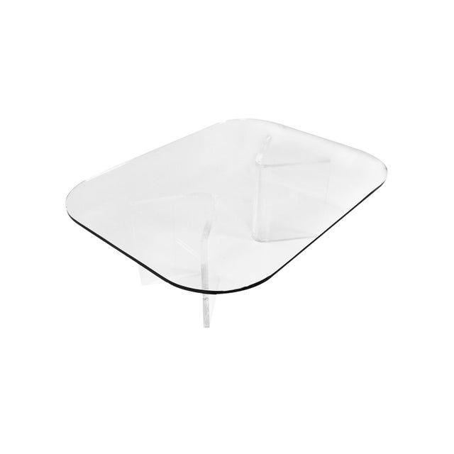 Mid Century Modern Lucite Base Glass Top Coffee Table For Sale - Image 11 of 11