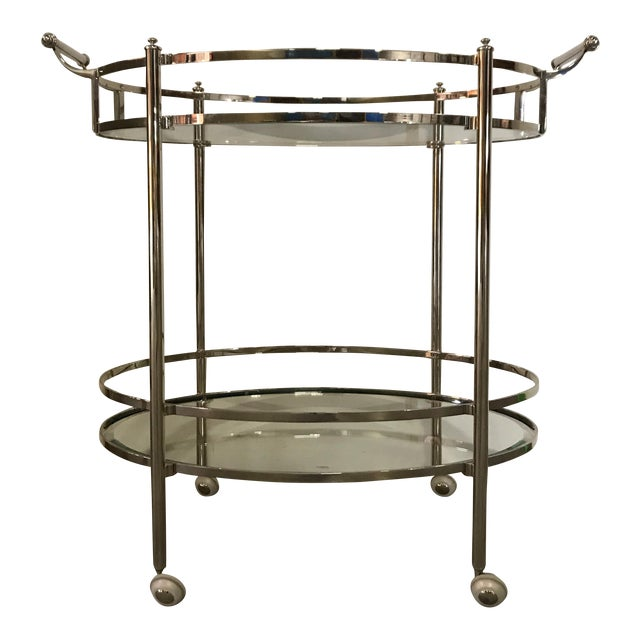 Polished Nickel Two Tier Bar Cart For Sale