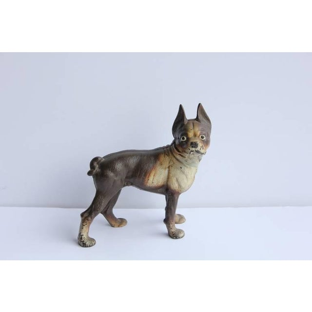 Charming antique cast iron Boston Terrier dog doorstop. Original paint.