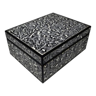 Made Goods Black and White Faux Tortoiseshell Box For Sale