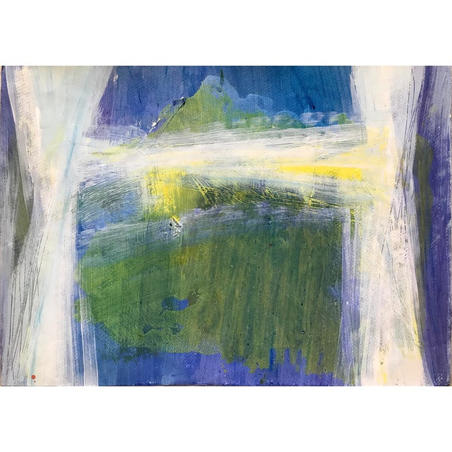 """1980s Patricia Zippin Abstract Mixed Media Painting """"View Through the Window"""" For Sale"""