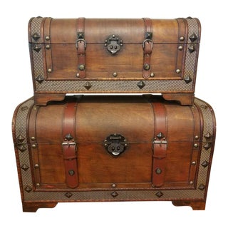 Wood & Leather Stacking/Nested Trunks For Sale