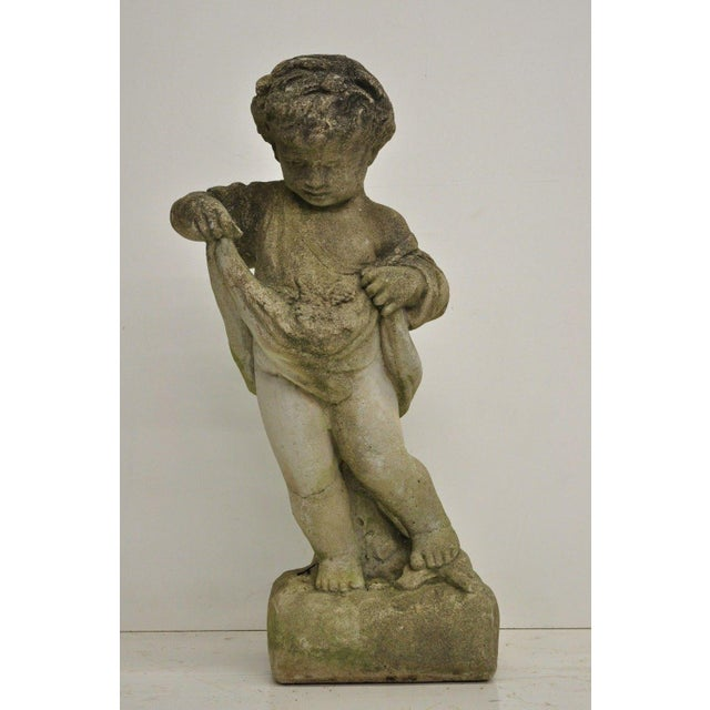 Beige Pair of Concrete Four Seasons Style Baby Cherub Cement Garden Sculptures For Sale - Image 8 of 12