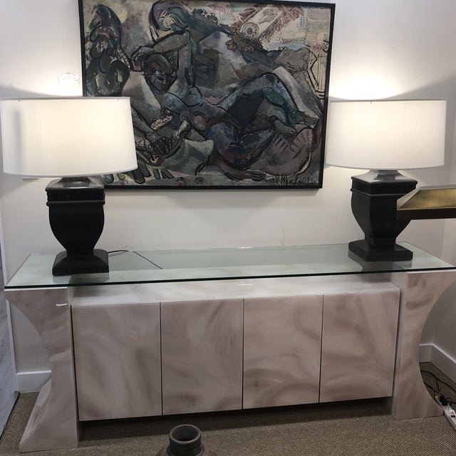 1980s Glass Top Credenza For Sale - Image 9 of 10