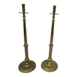 Vintage Tall Brass Candle Holders - A Pair