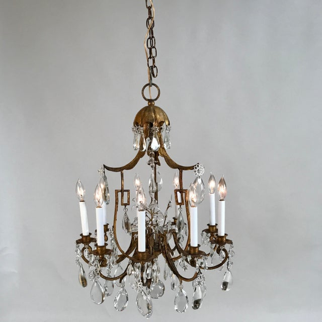 1930 French Gilt Tole & Crystal Chandelier For Sale - Image 11 of 11