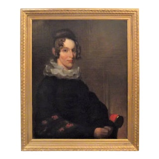 19th Century William IV Oil Painting Portrait on Canvas of an Aristocratic Lady For Sale