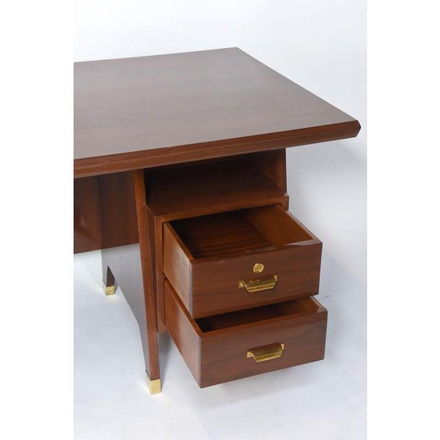 Italian Modern Walnut and Brass Executive Desk, Gio Ponti For Sale In Miami - Image 6 of 9