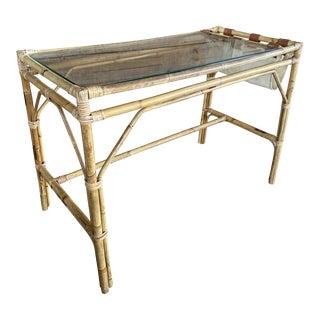 Vintage Coastal Boho Chic Rattan Desk For Sale
