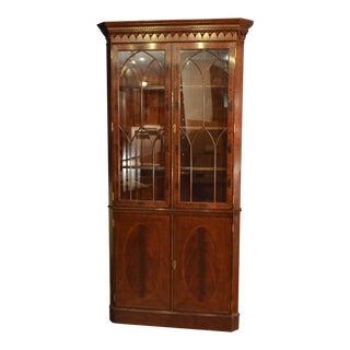 Leighton Hall Traditional Mahogany Corner Cabinet For Sale
