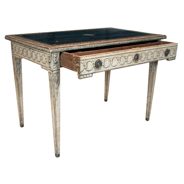 Wood 19th Century Neoclassical Trompe l'Oeil Decor Desk and Black Leather Top For Sale - Image 7 of 9