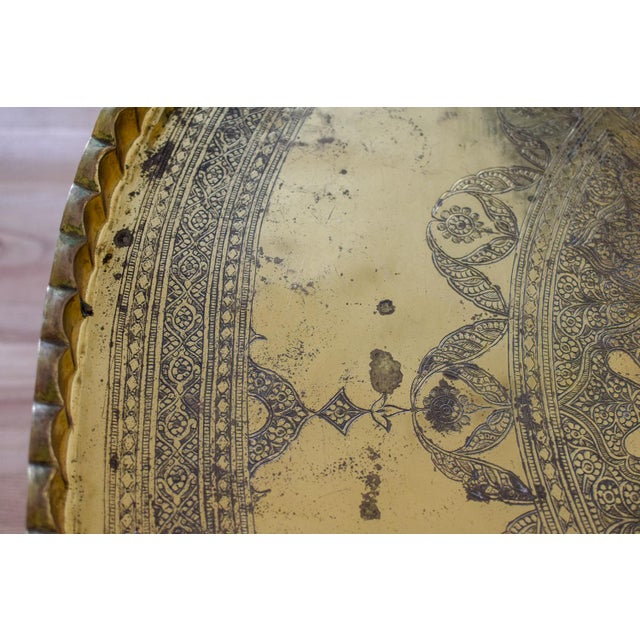 20th Century Moroccan Brass Tray and Teak Spider Leg Table For Sale - Image 11 of 13