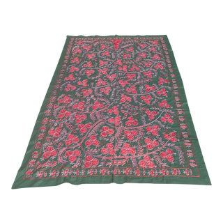 Boho Chic Suzani Bedspread With Pomegranates / Crochet Wall Hanging For Sale