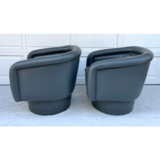 Postmodern Leon Rosen Style Swivel Tub Chairs - a Pair For Sale - Image 9 of 13