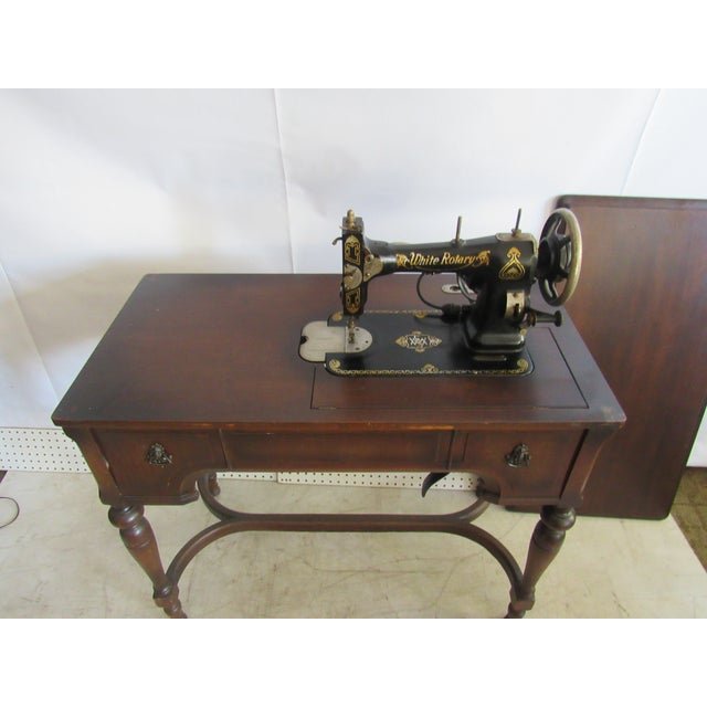 Wood Sewing Machine Desk With White Mfg Co. Sewing Machine For Sale - Image 7 of 7