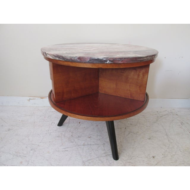 Round Side Tables with Marble Tops - A Pair - Image 6 of 8
