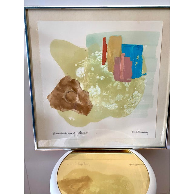 Amazing 1960s fine art, mixed media oil on paper by Swedish American postwar artist Daga Ramsey. Signed by the artist. A...