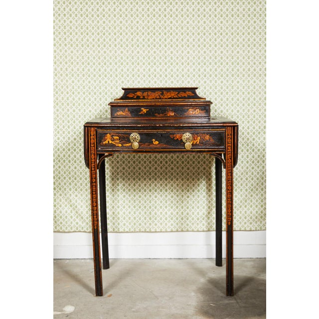 19th Century Regency Ebonized Chinoiserie Writing Table For Sale - Image 11 of 11