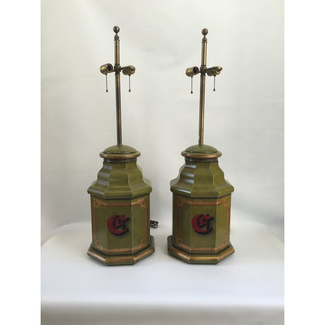 Mid 20th Century Vintage English Tole Canister Monogram Table Lamps - A Pair For Sale - Image 5 of 10