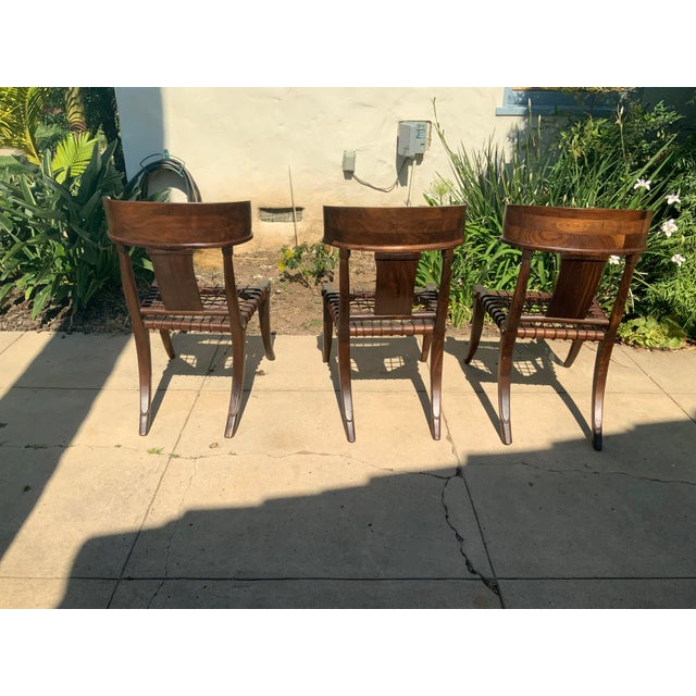Wood Klismos Walnut Chairs - Set of 3 For Sale - Image 7 of 9