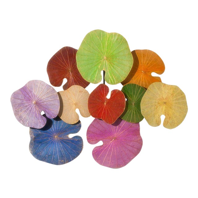 Contemporary Thai Lotus Leaf Wall Sculpture For Sale