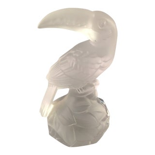 Goebel Frosted Crystal Glass Toucan Figurine For Sale