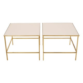 Brass & Vitrolite Side Tables after Harvey Probber - a Pair For Sale