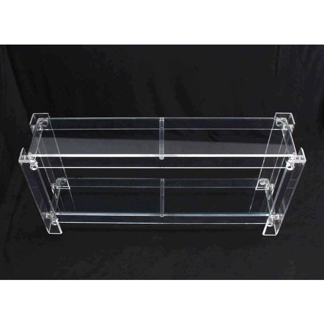 Mid-Century Modern Three-Tier Long Lucite Console Table For Sale - Image 3 of 10