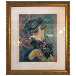 Finely Framed and Matted Lithograph by Barbara Wood Woman With Hat and Flowers For Sale