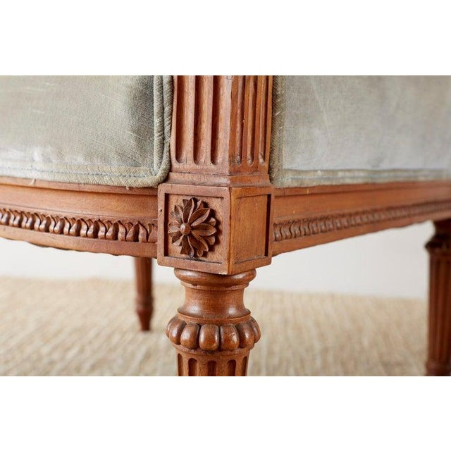 Pair of French Louis XVI Style Walnut Bergère a Oreilles For Sale In San Francisco - Image 6 of 13