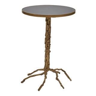 Isabella End Table, Black, Antique Brass For Sale