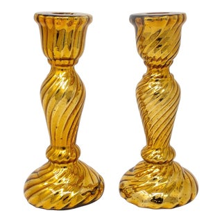 19th Century Gold Fluted Mercury Glass Candlesticks - Pair For Sale