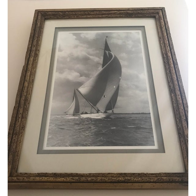 """White Framed and Double Shadow Mount Matted """"Candida"""" Black & White Prints From 1923 & The """"Velsheda"""" From 1943 - a Pair For Sale - Image 8 of 13"""