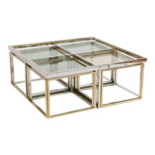 1978 French Maison Charles Chrome and Brass Coffee Table For Sale