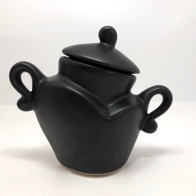 """I love how this 1980s """"Java Jig"""" porcelain sugar bowl by California ceramicist Michael Lambert (b. 1967) manages to feel..."""