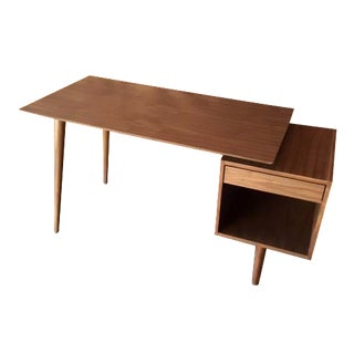 Mid-Century Style Custom Walnut Desk For Sale