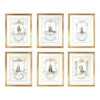 Framed Early Engravings of French Monarchs - Set of 6