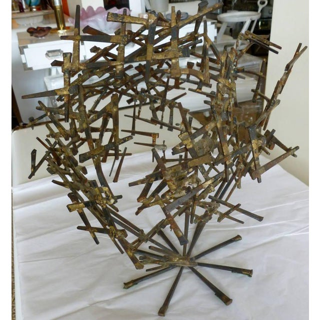 1970s Brutalist Abstract One of Kind Tabletop Nail Sculpture For Sale - Image 10 of 11
