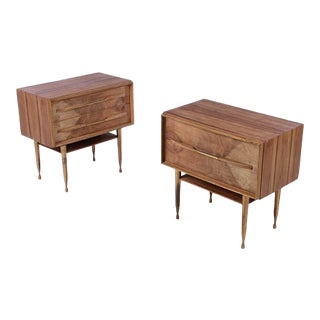 1960s Vintage T.H. Robsjohn-Gibbings Style Nightstands - A Pair For Sale