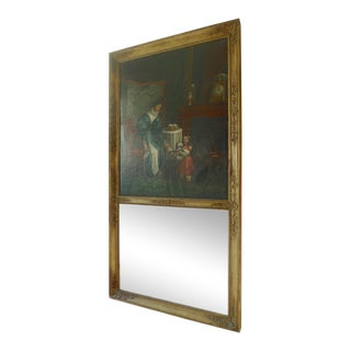 French XIX Mother and Child Trumeau Mirror For Sale